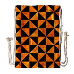 Triangle1 Black Marble & Orange Marble Drawstring Bag (large) by trendistuff