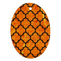 Tile1 Black Marble & Orange Marble (r) Oval Ornament (two Sides) by trendistuff