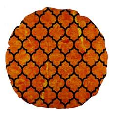 Tile1 Black Marble & Orange Marble (r) Large 18  Premium Flano Round Cushion  by trendistuff