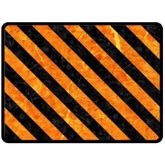 Stripes3 Black Marble & Orange Marble (r) Double Sided Fleece Blanket (large) by trendistuff