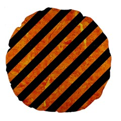Stripes3 Black Marble & Orange Marble Large 18  Premium Flano Round Cushion  by trendistuff