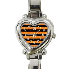 Stripes2 Black Marble & Orange Marble Heart Italian Charm Watch by trendistuff