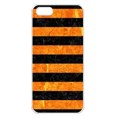 Stripes2 Black Marble & Orange Marble Apple Iphone 5 Seamless Case (white) by trendistuff