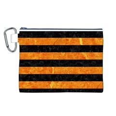 Stripes2 Black Marble & Orange Marble Canvas Cosmetic Bag (large) by trendistuff