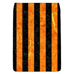 Stripes1 Black Marble & Orange Marble Removable Flap Cover (l) by trendistuff