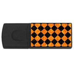 Square2 Black Marble & Orange Marble Usb Flash Drive Rectangular (4 Gb) by trendistuff