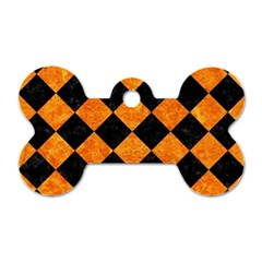 Square2 Black Marble & Orange Marble Dog Tag Bone (two Sides) by trendistuff