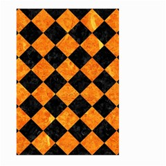 Square2 Black Marble & Orange Marble Large Garden Flag (two Sides) by trendistuff