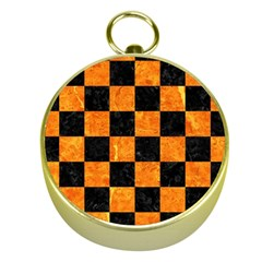 Square1 Black Marble & Orange Marble Gold Compass by trendistuff