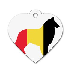 Belgian Teruvian Flag Silhouette Dog Tag Heart (two Sides) by TailWags