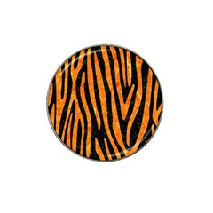 Skin4 Black Marble & Orange Marble (r) Hat Clip Ball Marker (10 Pack) by trendistuff