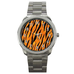 Skin3 Black Marble & Orange Marble (r) Sport Metal Watch by trendistuff