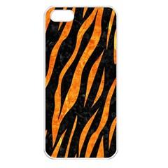Skin3 Black Marble & Orange Marble Apple Iphone 5 Seamless Case (white) by trendistuff