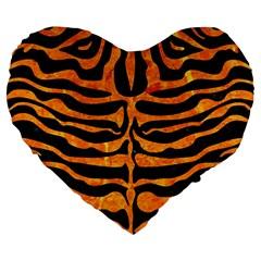 Skin2 Black Marble & Orange Marble Large 19  Premium Flano Heart Shape Cushion by trendistuff