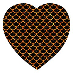 Scales1 Black Marble & Orange Marble Jigsaw Puzzle (heart) by trendistuff