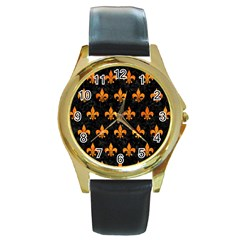 Royal1 Black Marble & Orange Marble (r) Round Gold Metal Watch by trendistuff