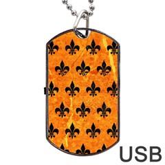 Royal1 Black Marble & Orange Marble Dog Tag Usb Flash (one Side) by trendistuff