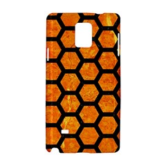 Hexagon2 Black Marble & Orange Marble (r) Samsung Galaxy Note 4 Hardshell Case by trendistuff