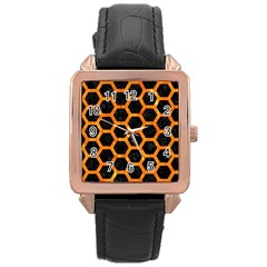 Hexagon2 Black Marble & Orange Marble Rose Gold Leather Watch  by trendistuff