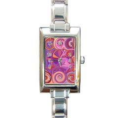 Candy Abstract Pink, Purple, Orange Rectangle Italian Charm Watch by theunrulyartist