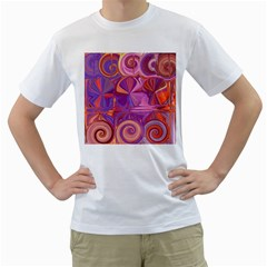 Candy Abstract Pink, Purple, Orange Men s T Shirt (white) (two Sided) by theunrulyartist