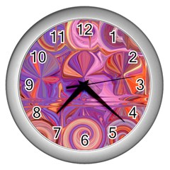 Candy Abstract Pink, Purple, Orange Wall Clocks (silver)  by theunrulyartist