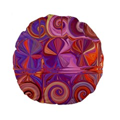 Candy Abstract Pink, Purple, Orange Standard 15  Premium Flano Round Cushions by theunrulyartist
