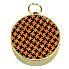 Houndstooth2 Black Marble & Orange Marble Gold Compass by trendistuff