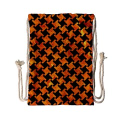 Houndstooth2 Black Marble & Orange Marble Drawstring Bag (small) by trendistuff