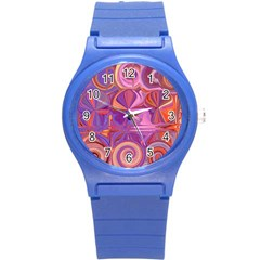 Candy Abstract Pink, Purple, Orange Round Plastic Sport Watch (s) by theunrulyartist