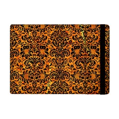 Damask2 Black Marble & Orange Marble (r) Apple Ipad Mini Flip Case by trendistuff