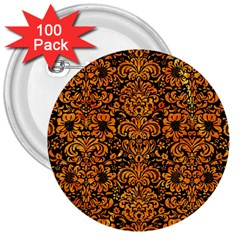Damask2 Black Marble & Orange Marble 3  Button (100 Pack) by trendistuff