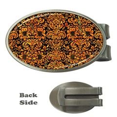 Damask2 Black Marble & Orange Marble Money Clip (oval) by trendistuff