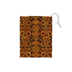 Damask2 Black Marble & Orange Marble Drawstring Pouch (small) by trendistuff
