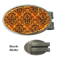 Damask1 Black Marble & Orange Marble (r) Money Clip (oval) by trendistuff
