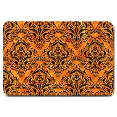 Damask1 Black Marble & Orange Marble (r) Large Doormat by trendistuff