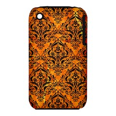 Damask1 Black Marble & Orange Marble (r) Apple Iphone 3g/3gs Hardshell Case (pc+silicone) by trendistuff