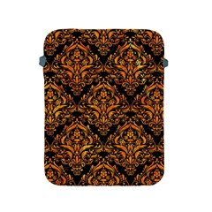 Damask1 Black Marble & Orange Marble Apple Ipad 2/3/4 Protective Soft Case by trendistuff