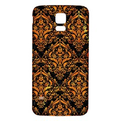 Damask1 Black Marble & Orange Marble Samsung Galaxy S5 Back Case (white) by trendistuff