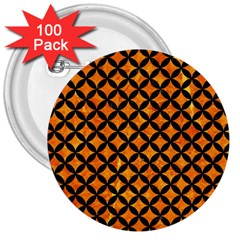 Circles3 Black Marble & Orange Marble (r) 3  Button (100 Pack) by trendistuff