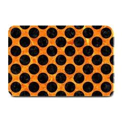 Circles2 Black Marble & Orange Marble (r) Plate Mat by trendistuff