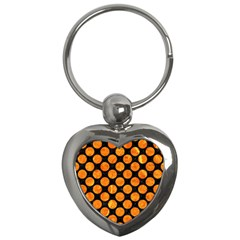 Circles2 Black Marble & Orange Marble Key Chain (heart) by trendistuff