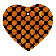 Circles2 Black Marble & Orange Marble Heart Ornament (two Sides) by trendistuff