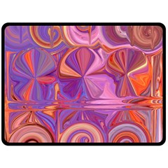 Candy Abstract Pink, Purple, Orange Double Sided Fleece Blanket (large)  by theunrulyartist