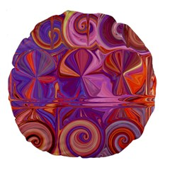 Candy Abstract Pink, Purple, Orange Large 18  Premium Flano Round Cushions by theunrulyartist
