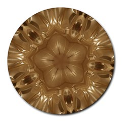 Elegant Gold Brown Kaleidoscope Star Round Mousepads by yoursparklingshop