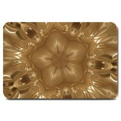 Elegant Gold Brown Kaleidoscope Star Large Doormat  by yoursparklingshop