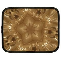 Elegant Gold Brown Kaleidoscope Star Netbook Case (large) by yoursparklingshop