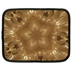 Elegant Gold Brown Kaleidoscope Star Netbook Case (xxl)  by yoursparklingshop