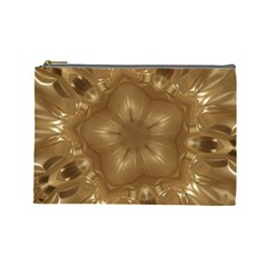 Elegant Gold Brown Kaleidoscope Star Cosmetic Bag (large)  by yoursparklingshop